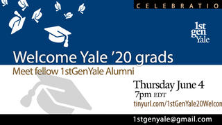 "Graphic for webinar, ""2020 Yale Graduates: Welcome to 1stGenYale!"""