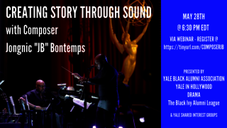 "Graphic for webinar, Creating Story through Sound with Composer Jongnic ""JB"" Bontemps"