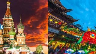 Split screen of Russia and China to promote the Yale Alumni Academy course, Eurasian Entanglements
