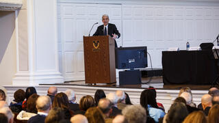 President Peter Salovey '86 PhD gives his university update during the 2019 YAA Assembly and Yale Alumni Fund Convocation.