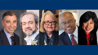 2020 Yale Medalists (L to R) Bruce Alexander, Rahul Prasad, Judith Schiff, Kurt Schmoke, and Alice Young.