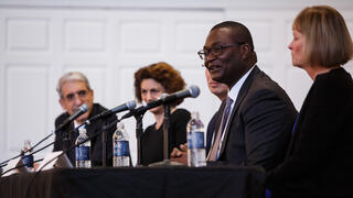 The dean's panel at the 2019 YAA Assembly and Yale Alumni Fund Convocation, featuring Peter Salovey, Tamar Gendler, Marvin chun, Kerwin Charles, and Indy Burke.