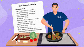 Cartoon drawing of making kale meatballs, complete with the recipe to do so