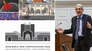 2020 University Update graphic featuring President Salovey '96 PhD