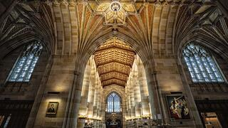 The entrance to Sterling Memorial Library