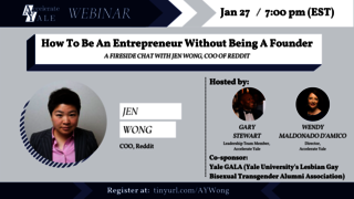 Webinar graphic: How To Be An Entrepreneur Without Being A Founder: A Fireside Chat with Jen Wong, COO of Reddit