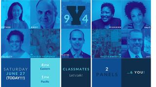 Graphic: Yale College Class of 1994 - Race and Covid Panels. Created by Michelle Hlubinka