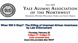 When will it stop? Yale Alumni Association of the Northwest