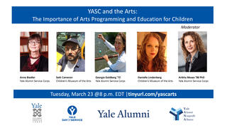 Webinar Graphic,  Yale Alumni Service Corps & Children's Museum of the Arts