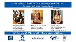 Webinar graphic, Public Health Considerations in Indigenous Communities: Research, Advocacy, and Activism
