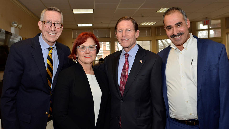 Left to right: Bruce Barber of WNPR; Gail D'Onofrio, chair, Yale Department of Emergency Medicine; U.S. Senator Richard Blumenthal and Fuad Abujarad, assistant professor, Yale Department of Emergency Medicine (Photo credit: Marco Roldan)