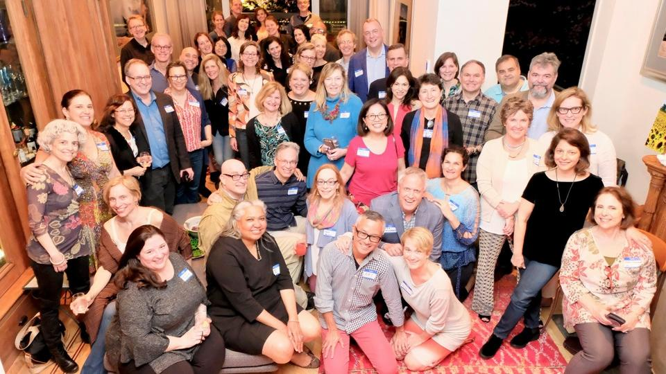 Members of the Yale College Class of 1985 gather during one of their pre-reunions.