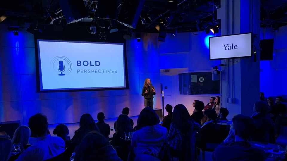 Dr. Budde on stage at BOLD Perspectives NYC, 2020