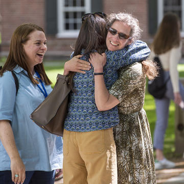 Friends greet each other on Friday of the first weekend of the 2019 Yale College Reunions.
