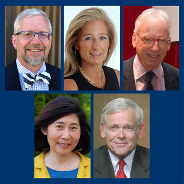 The recipients of the 2019 Yale Medal (clockwise from top left): Scott Williamson '80, Nancy Better '84, John Walsh '61, William Donaldson, and Caroline Van '79