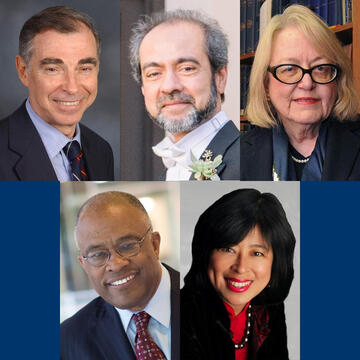 The 2020 Yale Medal recipients (clockwise from top left): Bruce Alexander, Rahul Prasad, Judith Schiff, Alice Young, and Kurt Schmoke