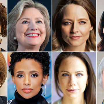 Top row, left to right: Elizabeth Alexander '84, Secretary Hillary Clinton '73 JD, Jodie Foster '85, Rhiana Gunn-Wright '11. Bottom row: Senator Amy Klobuchar '82, Rahiel Tesfamariam '09 MDiv, Barbara Bush '04, Janet Yellen '71 PhD