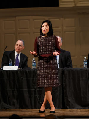 Professor Akiko Iwasaki speaks to the crowd during the 2018 YAA Assembly and Yale Alumni Fund Convocation.