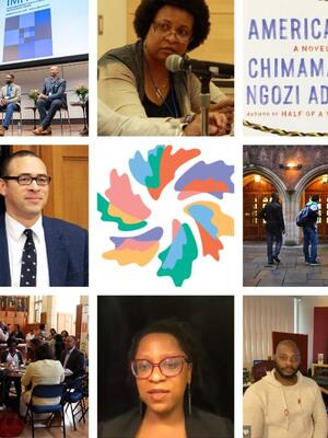 A collage of images of books, articles, speakers, and more on combating racism and advancing equality and justice